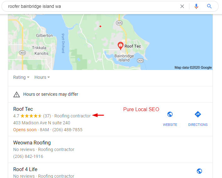 Local Roofer Map Pack Ranking From Local SEO