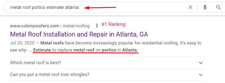 Local SEO Ranking Example