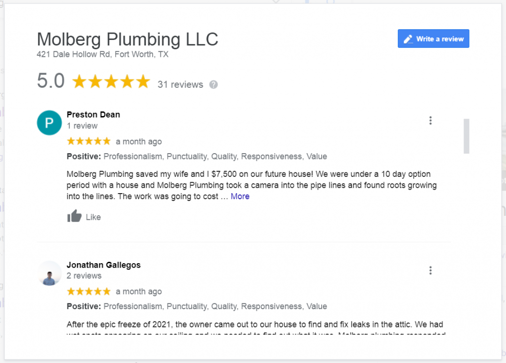 A Sample of Molberg Plumbing Reviews