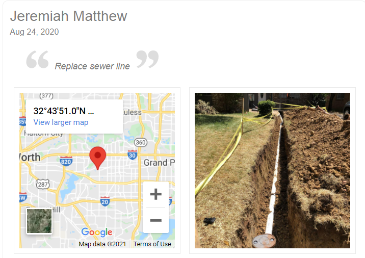 An Example of Sewer Line Replacement in a Checkin Photo