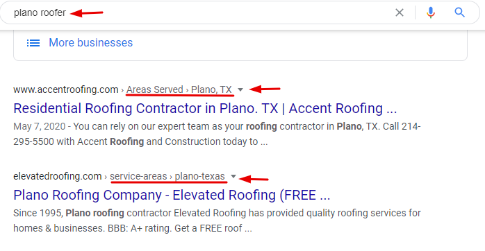 Plano Roofer Organic Search